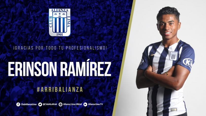 Erinson Ramirez no continuará en Alianza Lima