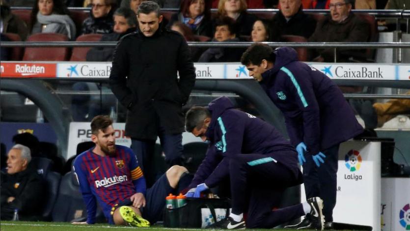 Messi es duda para el clásico ante Real Madrid