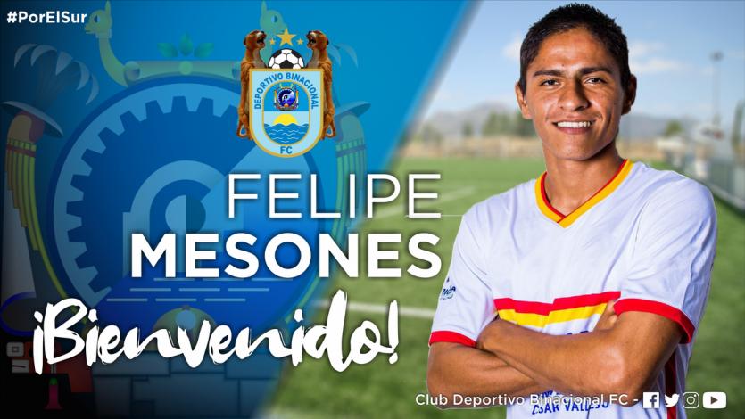 Deportivo Binacional anunció a Felipe Mesones como su nuevo refuerzo