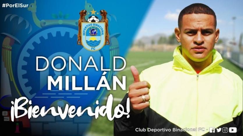 Deportivo Binacional: Donald Millán se convierte en su nuevo refuerzo