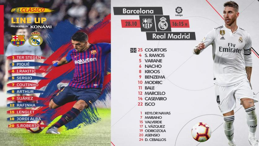 Barcelona vs. Real Madrid, el Clásico: Alineaciones confirmadas