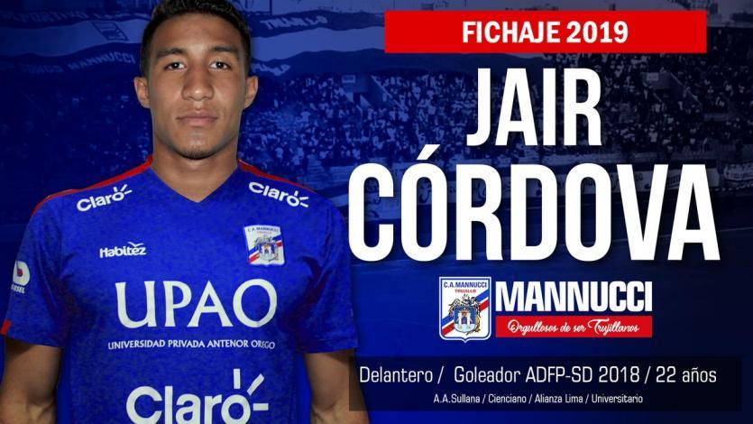 Carlos A. Mannucci anunció a Jair Córdova como su nuevo refuerzo