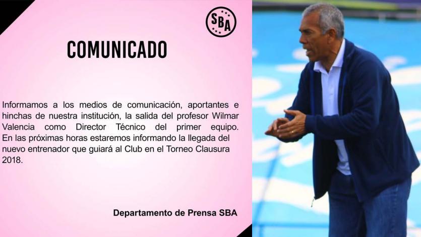Wilmar Valencia dejó de ser entrenador de Sport Boys