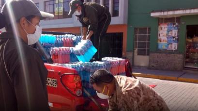 FBC Melgar llevó importante donación de bebidas hidratantes a la Policía y Fuerzas Armadas