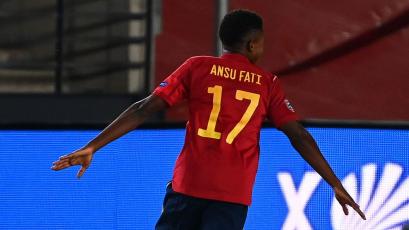 Ansu Fati anotó ante Ucrania y se convirtió en el goleador más joven de la selección española