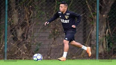 Christian Cueva se muestra en los entrenamientos del Sao Paulo
