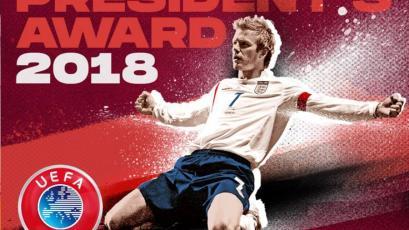 David Beckham recibe el Premio Presidente de la UEFA por su aporte al fútbol