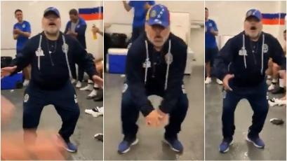Diego Maradona bailó en el vestuario tras lograr primera victoria con Gimnasia (VIDEO)
