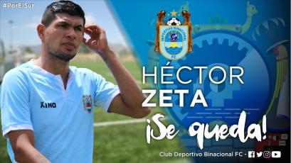 Héctor Zeta renovó contrato con Deportivo Binacional