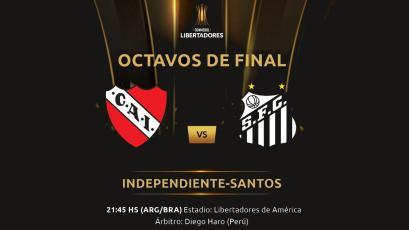 Copa Libertadores: Independiente recibe a Santos con arbitraje de Diego Haro