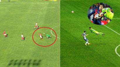Liga2: Máximo Rabines imitó el famoso rechazo de Manuel Neuer, pero terminó golpeado (VIDEO)