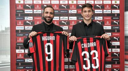 AC Milan presentó a Gonzalo Higuaín y Mattia Caldara