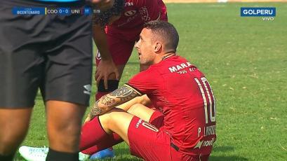 Universitario de Deportes: Pablo Lavandeira se lesionó y dejó partido con Coopsol a los 11 minutos (VIDEO)