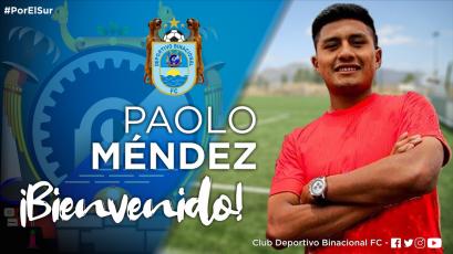 Deportivo Binacional anuncia el fichaje de Paolo Méndez