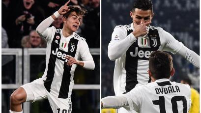 Paulo Dybala y Cristiano Ronaldo intercambiaron celebraciones en goleada de Juventus (VIDEO)