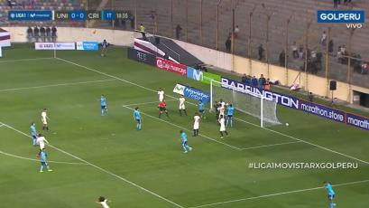 Sporting Cristal: el palo le negó el gol a Fernando Pacheco ante Universitario de Deportes  (VIDEO)